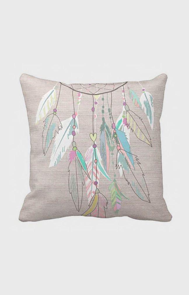 Cubierta de Almohada de Plumas color Pastel ❁~Atrapa Sueños~❤❤ - Dreamcatcher  Almohada de Algodón y Arpillera