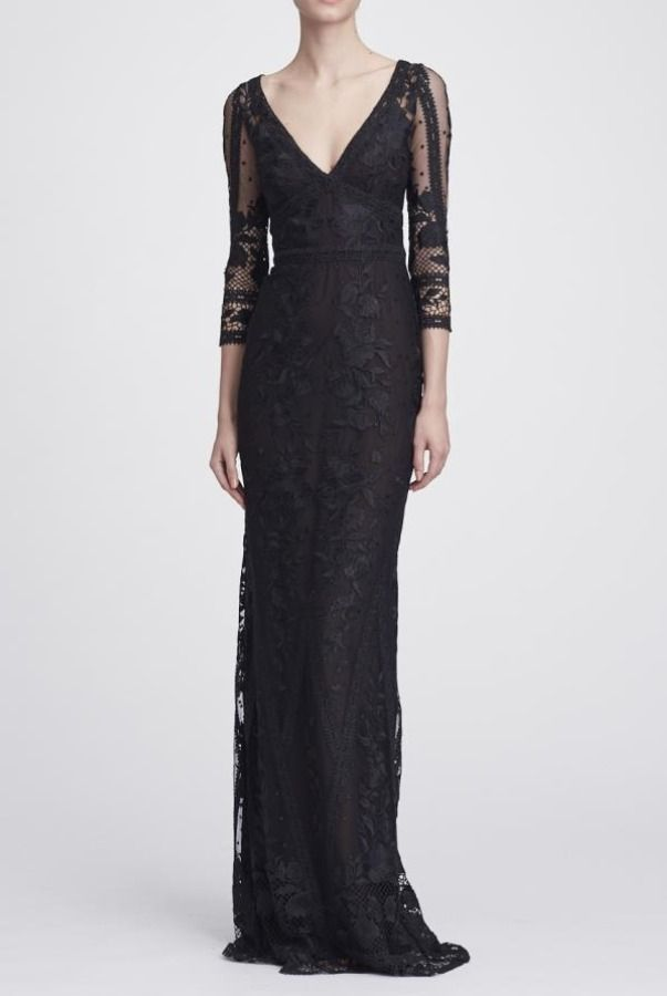 a401fbae Marchesa Notte Black Long Sleeve V Neck Guipure Lace Gown | Poshare ...