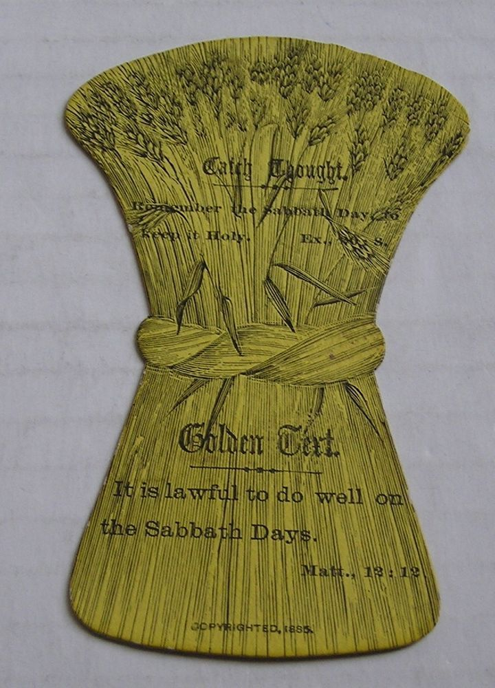 VICTORIAN TRADE CARD, DIE CUT SHEATH OF WHEAT, 1885, RELIGIOUS SAYINGS  #DieCut