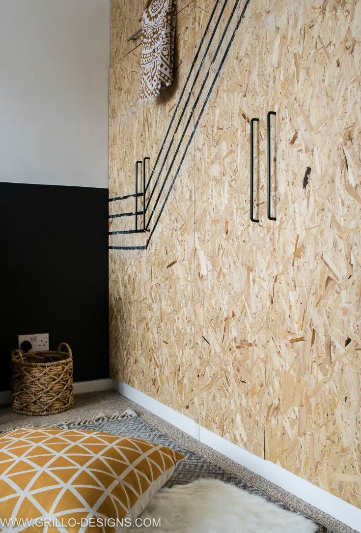 OSB DIY CUPBOARD DOORS IN THIS SMALL BEDROOM MAKEOVER / Grillo Designs www.grillo-designs.com