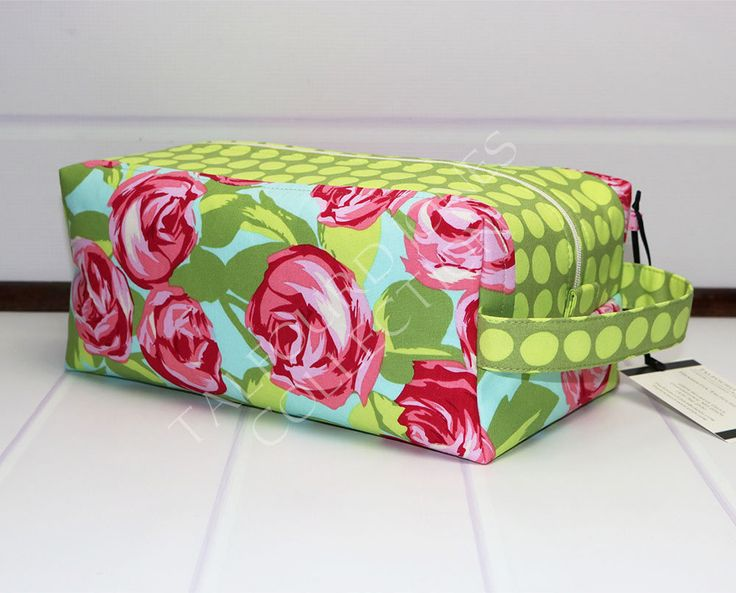 Floral Box Pouch - Pink Cabbage Roses - Large Toilet Bag - Womens Toiletry Bag - Makeup Storage Box - Knitting Project Bag - Amy Butler Love by TalfourdJones on Etsy
