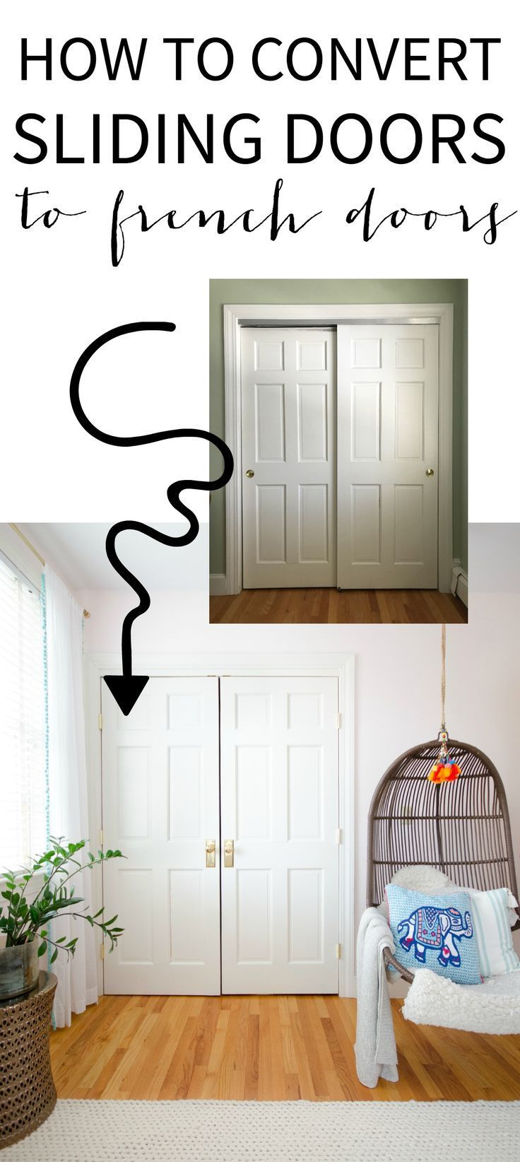 How To Convert Sliding Doors To Hinged Doors Step By Step Tutorial That Teaches You How To Take You In 2020 Diy Closet Doors Sliding Closet Doors Bedroom Closet Doors
