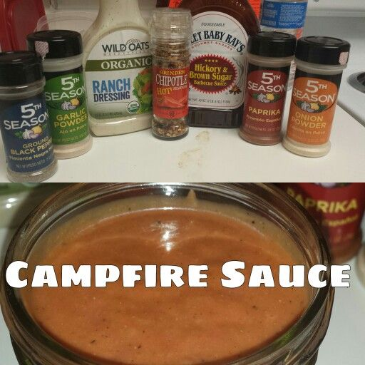 My version of Red Robin's Campfire Sauce. 1 cup of ranch / 1 cup of hickory Bbq Sauce / 1 Tbsp Chipotle seasoning / 1 tsp of each paprika, onion powder, garlic powder, ground black pepper (I used the Organic Ranch due to the flavor it adds that really makes the sauce)