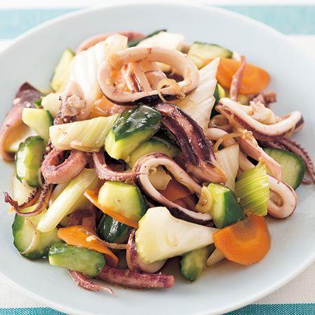 いかげそのレシピ | 料理レシピ検索 | レタスクラブニュース 蒸しいかと夏野菜のサラダ