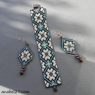 купить браслет и серьги из бисера цветочный орнамент ткачество loom beading set bracelet