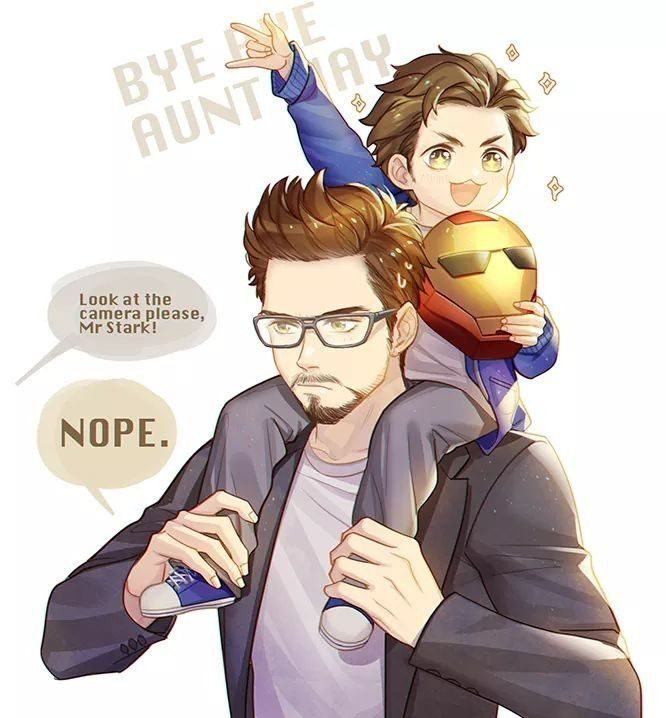 Far!Tony& Baby!Peter by http://juvenile-reactor.tumblr.com/post/164486398709/i-wanna-watch-spidey-movie-so-so-bad-it-wont-be