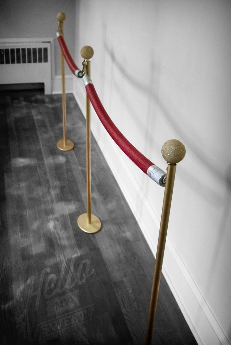 "If you are looking for a unique way to jazz up your Red Carpet or Movie  Night party, look no further. These stanchions with ""red rope"" are the  perfect way to corral your trick or treat line or add a special detail and  authentic look to your movie party."
