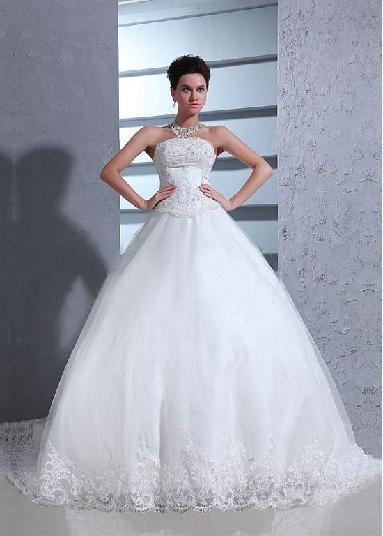 Stunning Satin&Tulle Ball gown Strapless Neckline Dropped Waistline Wedding Dress