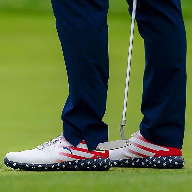 pair of US flag Puma Golf shoes