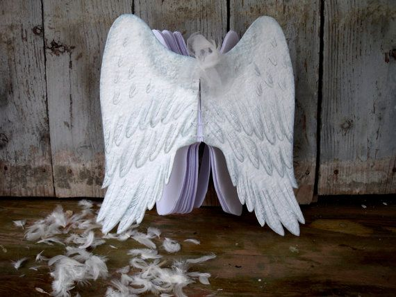 Angel wings unique handmade diary white notebook by EmilySteampunk