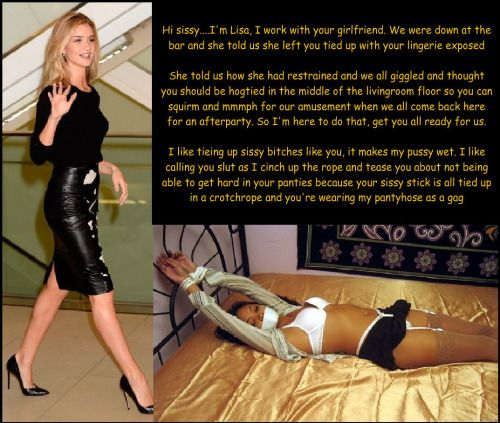 Bound and gagged sissy captions for that