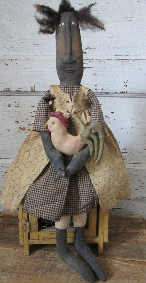 Primitive Grungy Folk Art Ruta Lee and Her by OldeAtticPrims