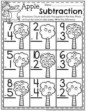 subtraction worksheets kindergarten activities preschool apple theme kindergarten math. Black Bedroom Furniture Sets. Home Design Ideas