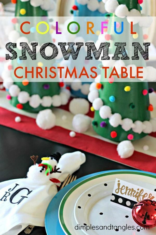Colorful Snowman Christmas Tablescape with Hobby Lobby Snowman