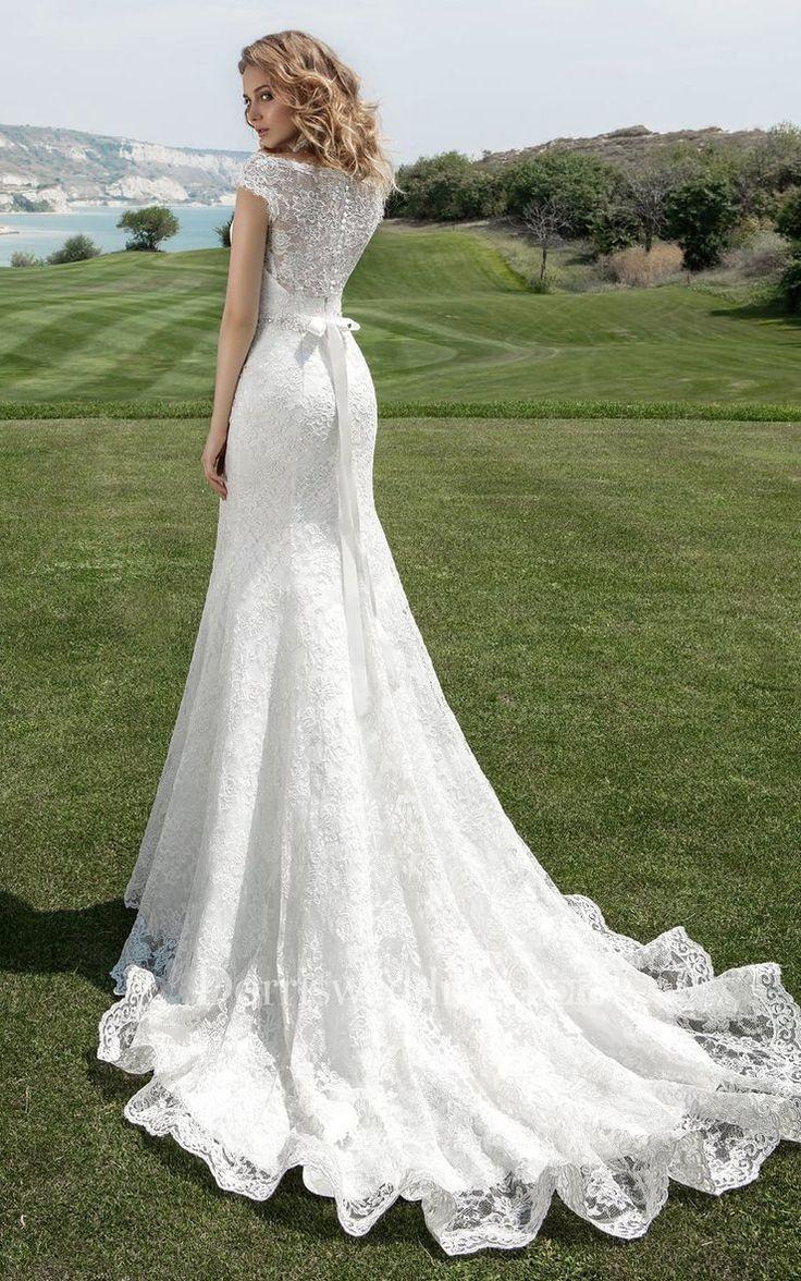 Bateau Neck Cap Sleeve Sheath Marriage ceremony Gown With Beaded Waist – 714646