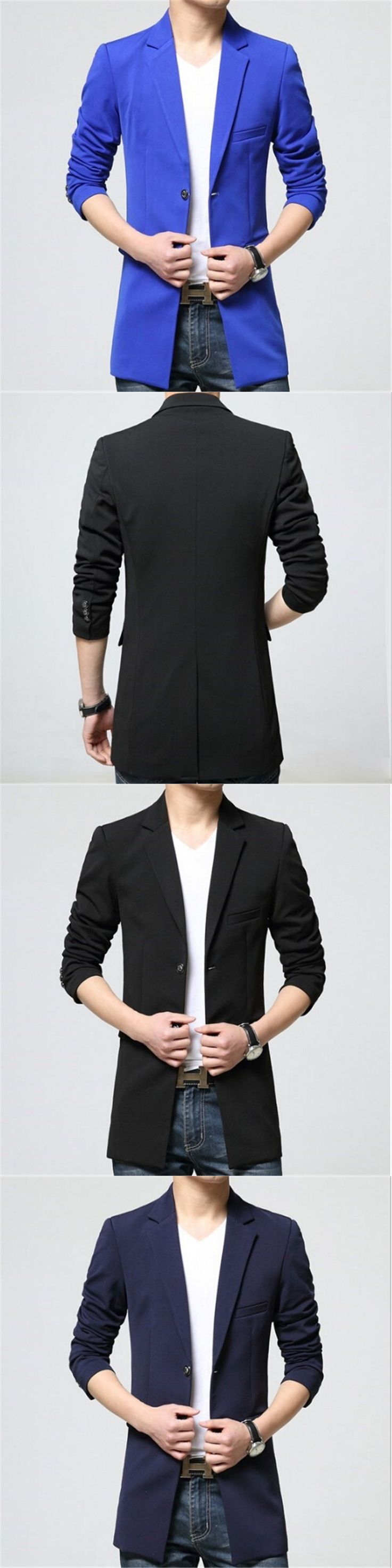 AILOOGE New Arrival 2017 Mens Long Casual Jackets Blazers Men Slim Fit Blazer Fashion Homme Korean Style Clothing
