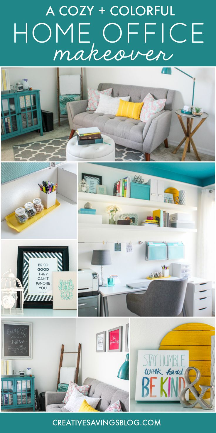 Need home office ideas? This cozy and colorful space fuels creativity with a functional yet stylish design. You won't mind getting work done in an office like this! via @creativesavings