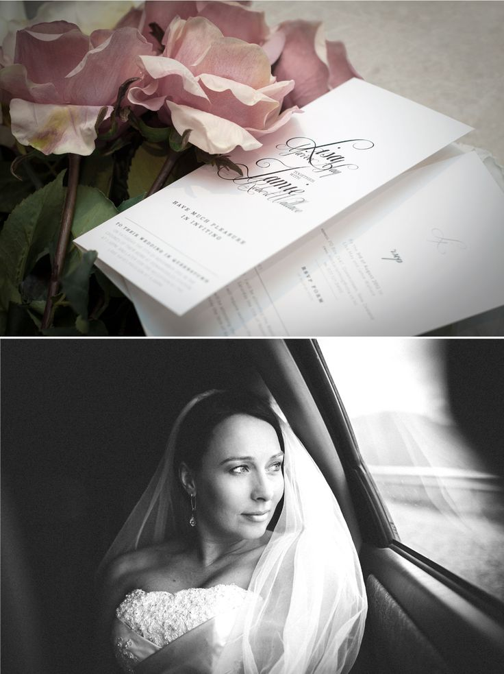 Wedding invitation design and accompanying RSVP card for the classically beautiful bride Lisa & her handsome Jamie