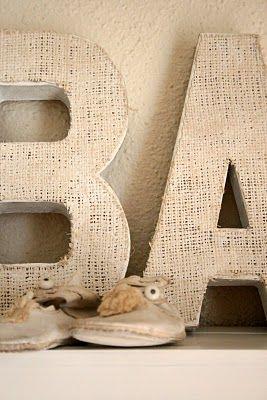 burlap covered lettersVirginia House, Restoration Hardware, Burlap Monogram, Painting Burlap, Burlap Letters, Letters Tutorials, Wooden Letters, Cardboard Letters, Diy Burlap