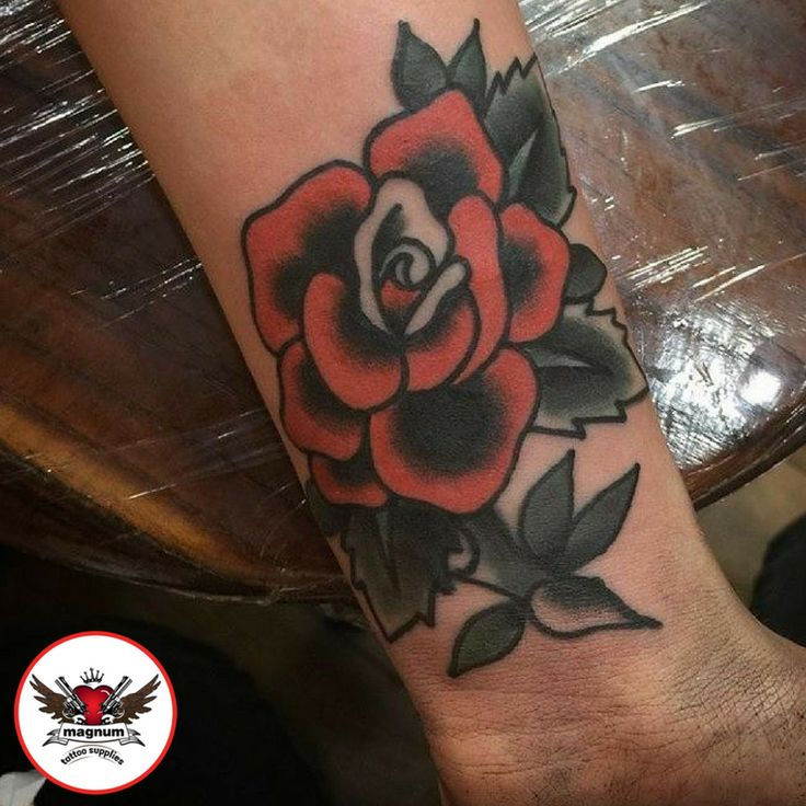 Rose tattoo done by Mike Davies with #magnumtattoosupplies  #colour #rose #ink #tattoo