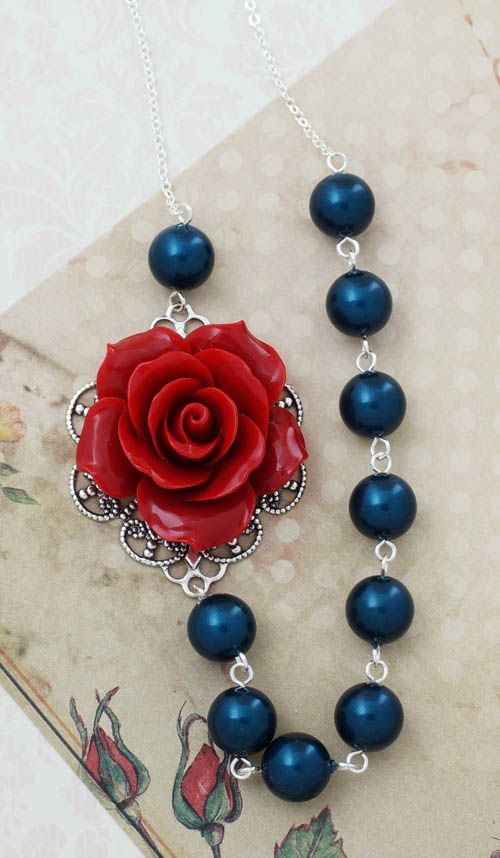Red and Navy floral and Swarovski Pearls Necklace from EarringsNation Red+Navy Weddings