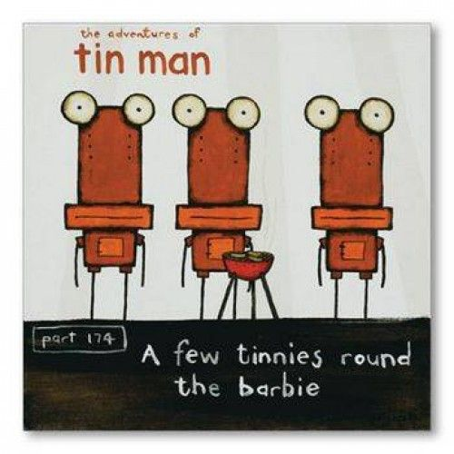 A Few Tinnies Round the Barbie by Tony Cribb Greeting Card