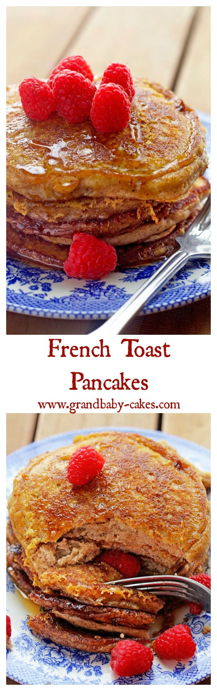 French Toast and Pancakes Collide in these delish French Toast Pancakes from the Stack Happy Cookbook! ~ http://www.grandbaby-cakes.com | B r e a k f a s t | P…