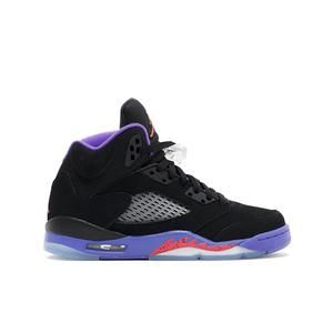 0e06793ad971b1 This grade school iteration of the Air Jordan 5 features a black nubuck  upper with hits