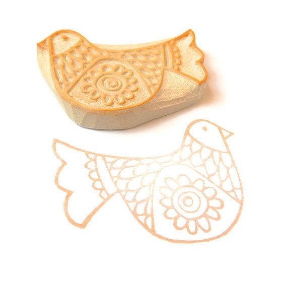 Scandinavian Bird DIY Gift Wrap Stamp Hand Carved by creatiate