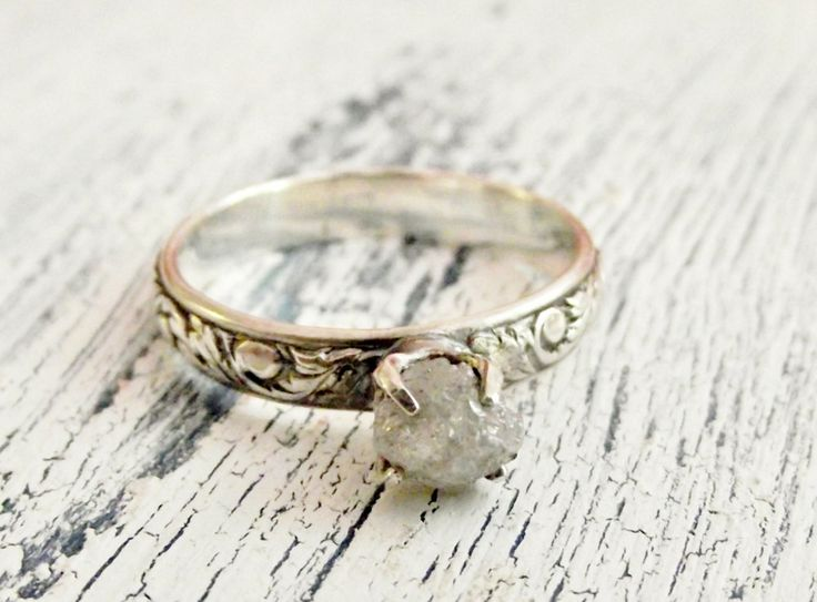 Rough Uncut Diamond Ring Rustic Sterling Silver Customized Engagement Ring. $198.00, via Etsy.