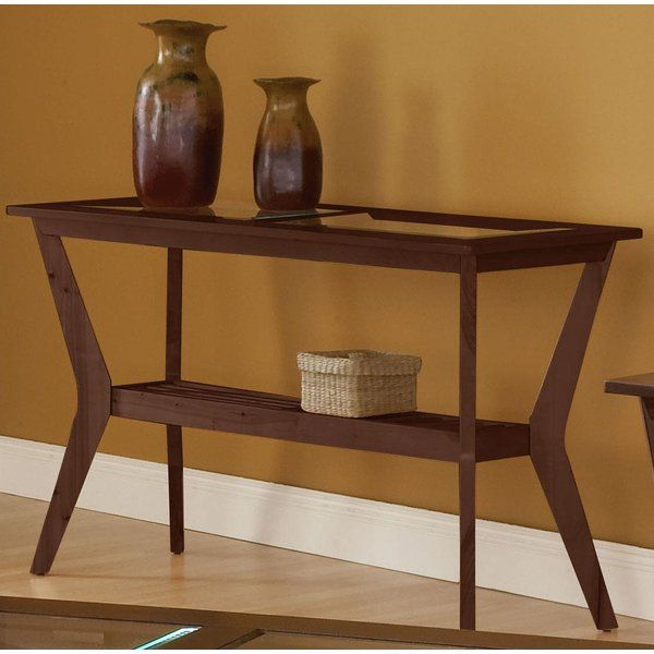 This Console Table Features Contemporary Beveled Inset Glass