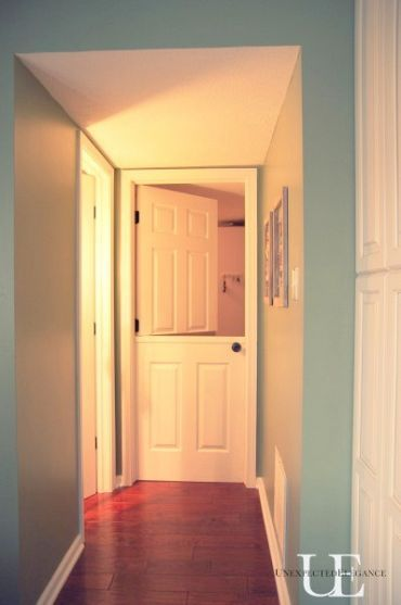 Turn a core door into a dutch door (great farmhouse look) and a wonderful idea for a kids play room to keep an eye on them