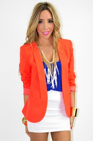 colors: Colors Combos, Minis Skirts, Neon Blazers, Bright Colors Outfits, Games Day Outfits, Bright Orange, Orange Neon, Orange Blazers, White Skirts
