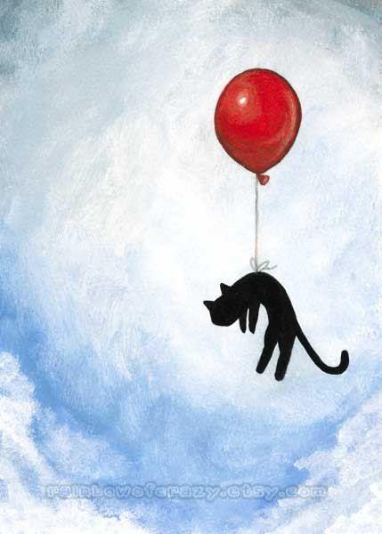 Black Cat Art Print, Red Balloon, Blue Sky, 5x7 Nursery Room Print, Animal Illustration, Flying Cat Artwork, Blue Sky
