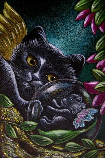 Dark Fantasy Art of Ally Cat | Art: 2 FANTASY FAIRY KITTEN CATS by Artist Cyra R. Cancel
