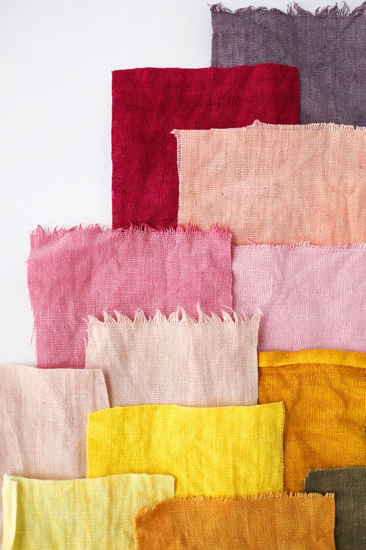 The range of natural colors produced by my natural dye experiment! Find my crash course to natural dyes on A Beautiful Mess.