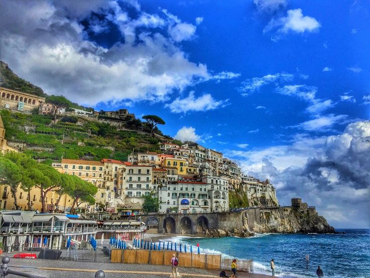 The steep coastline of Italy -