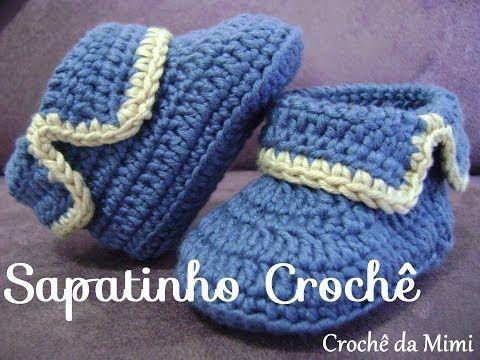 Passo a passo Sapatinho de Bebê em Croche - crochet baby bootie - YouTube