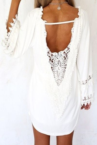White Lace Splicing Backless Dress: