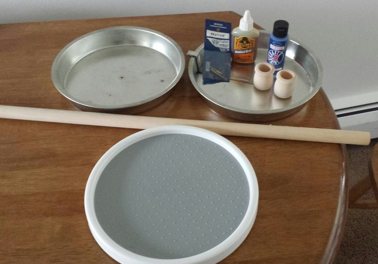 Lazy Susan spice holder. two cake pans from thrift shop lazy susan from Target, pieces and parts from hobby shop