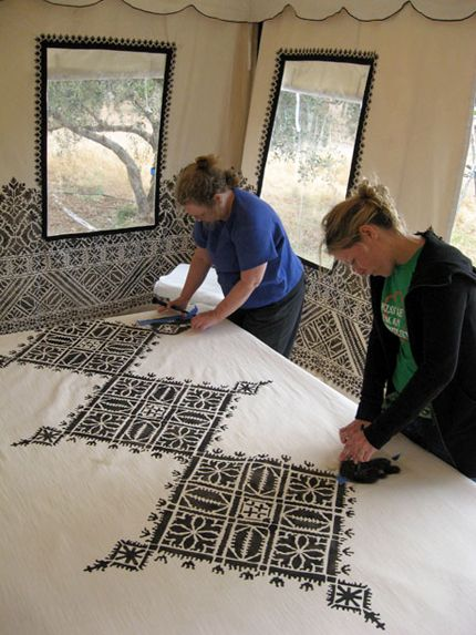 Stenciling canvas fabric for an amazing Moroccan dining tent at Peacock Pavilions. This was SUCH a fun trip and project. :)