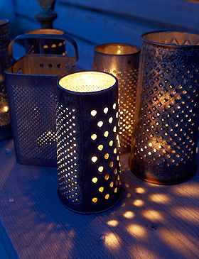 Old Cheese Graters - Gotta love the simple brilliance of this!!!: Crafts Ideas, Candles And Lights In Gardens, Candles Gardens Decor, Candles Holders, Gardens Lights, Chee Grater, Grater Candles, Grater Teas Lights, Candles Covers