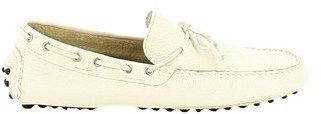 Longhi Men's White Leather Loafers.