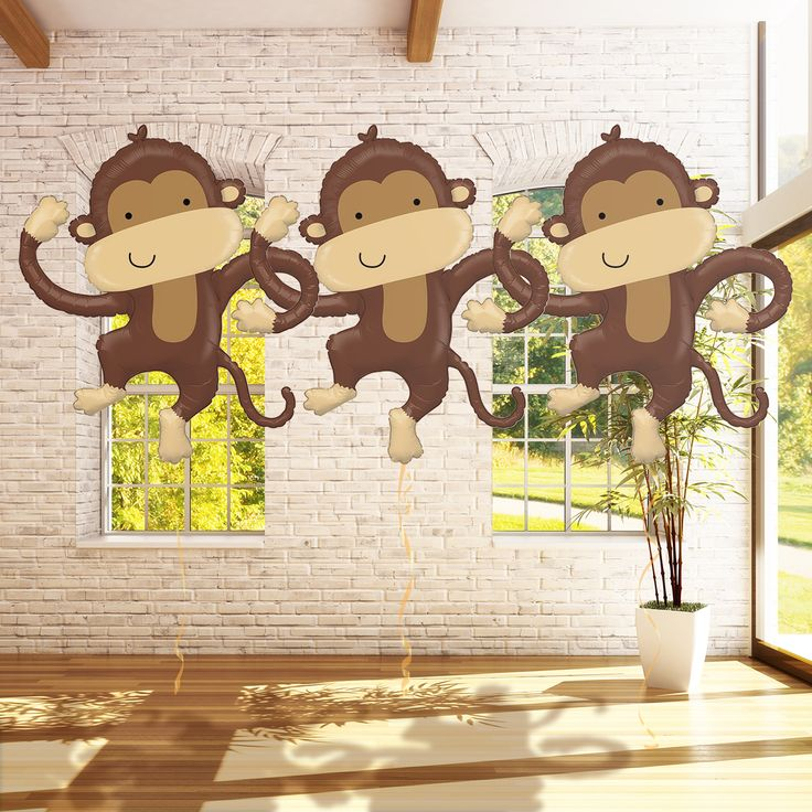 40 best monkey themed baby shower images on pinterest jungles monkey baby showers and monkey - Monkey balloons for baby shower ...