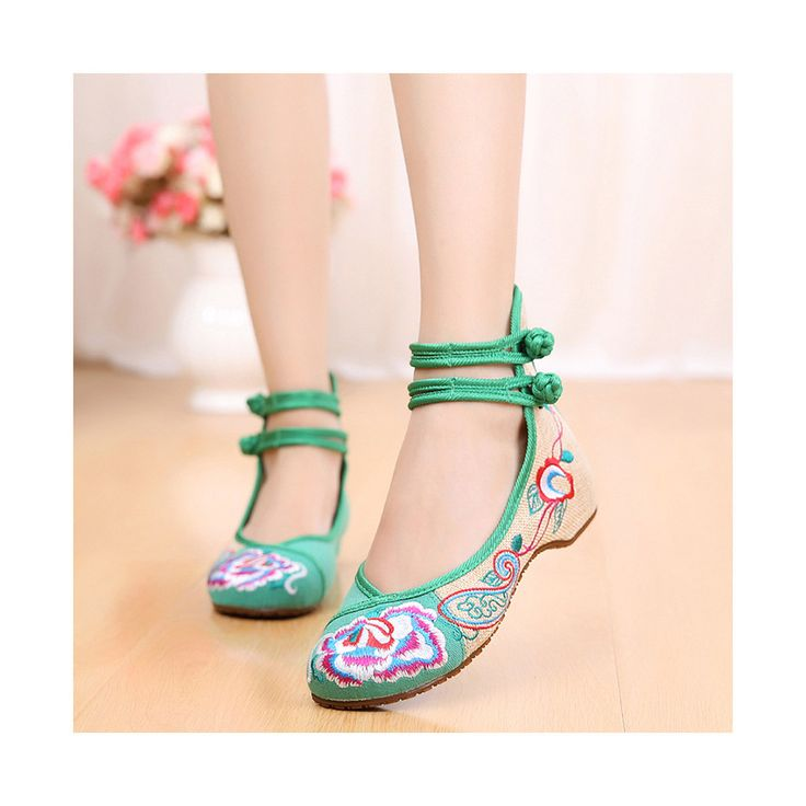 Old Beijing Cloth Shoes Assorted Colors Casual Tie Embroidered Shoes Slipsole Low Cut Increased within National Style Shoes green