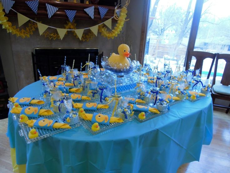rubber ducky centerpiece ideas | View of table with luncheon plates for rubber duck theme shower.
