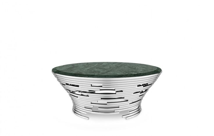 Rupture Contemporary Polished Aluminium Verde Tinos Marble Center Table