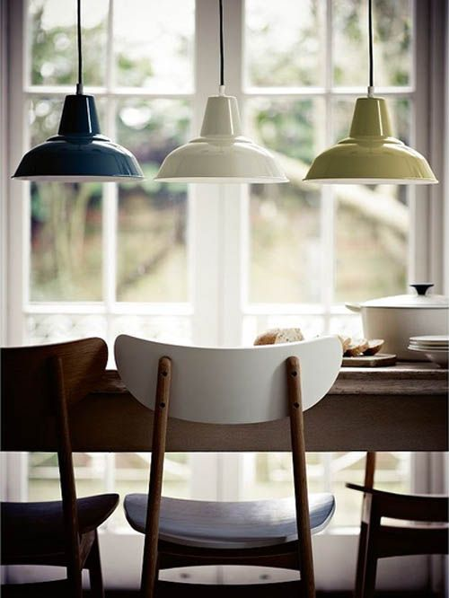 Factory style pendant lighting from John Lewis