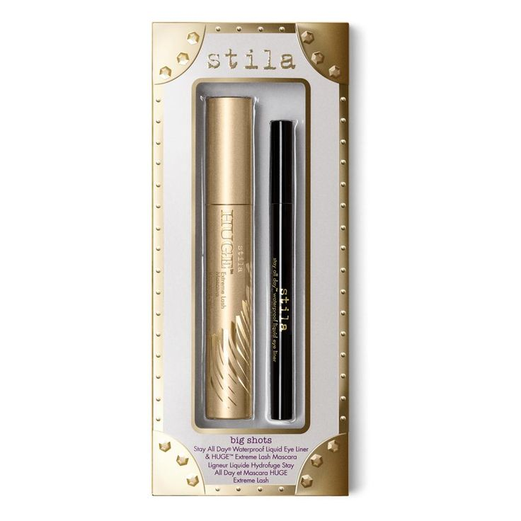 These eye-conic big shots are the best in beauty for a perfect lined and defined eye look. Includes full sizes of Stila's #1 best-selling eye liner and mascara!:  Stay All Day® Waterproof Liquid Eye Liner in Intense Black HUGE™ Extreme Lash Mascara  HUGE™ Extreme Lash Mascara: 0.44 fl. oz./13 mLStay All Day® Waterproof Eye Liner: 0.016 fl. oz./0.5 mL [ingredients] HUGE™ Extreme Lash Mascara: INGREDIENTS/INGRÉDIENTS:  WATER/AQUA/EAU, PARAFFIN, ACACIA SENEGAL GUM, ...