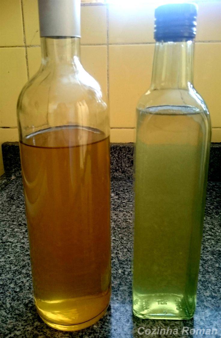 O da esquerda é o licor tradicional feito com as cascas finas. E o da direita é o feito com as cascas que ficaram de molho